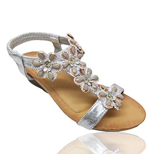 de Fashion Mujer IDeal plata Para RoMaAn's Sandalias Vestir tHwZxtqT