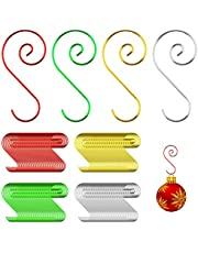 LUTER 160 Pieces Christmas Ornament S Hooks Bulk Hangers for Christmas Tree Decoration (Silver, Gold, Red, Green)