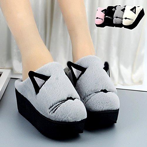 Memory Anddyam Short Velvet Women's Gray Plush Slippers High Lining Slip Clog Heel on Foam Indoor TqT0rxp