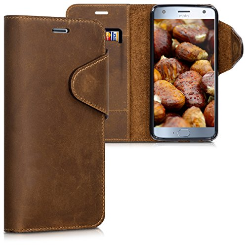 kalibri Wallet Case for Motorola Moto X4 - Genuine Leather Book Style Protective Cover with Card Slot - Brown (Top 20 Places To Visit In China)