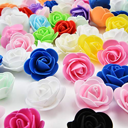 Festive Decorations - Mini PE Foam Rose Flower Head Artificial Rose Flowers Handmade DIY Wedding Home Decoration Festive & Party Supplies 50pc 3cm (Multicolor)