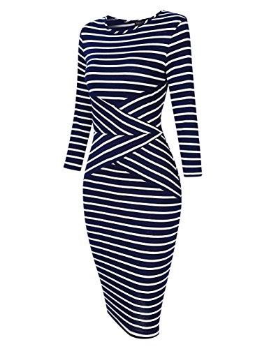 Women Party Sleeveless Pencil Dresses 4 Blue 3 Cocktail GloryStar Striped New Dress Business Sleeve vFwdvqIA