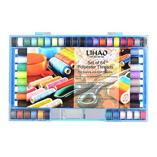 LIHAO Nähgarn Set 64-teilig Syngarn Polyester Nähmaschinengarn 32 Farben