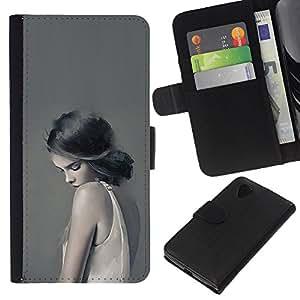 YiPhone /// Tirón de la caja Cartera de cuero con ranuras para tarjetas - Muchacha en blanco - LG Nexus 5 D820 D821