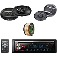 Pioneer CD Bluetooth Receiver W/ Enhanced Audio Functions with Pioneer 6.9 Inch Car Coaxial Speakers Pair, Pioneer 6.5 Inch Car Coaxial Speaker Pair & Enrock Audio 14 AWG Gauge 50 Speaker Wire Cable