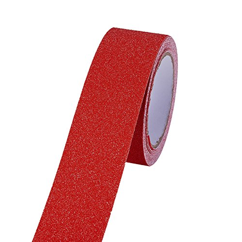 (ATMOMO RED Safety Adhesive Sticker Grip Non Skid Tape Anti-Slip Adhesive Stickers Mat for Stairs Floor Stairway 5Mx5CM)