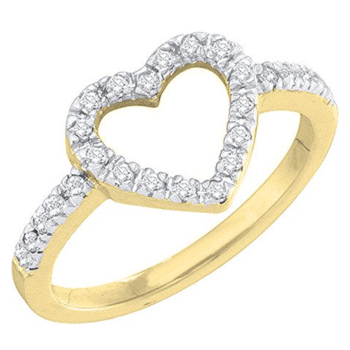 (Dazzlingrock Collection 0.18 Carat (ctw) 14K Round Diamond Bridal Heart Shaped Promise Engagement Ring, Yellow Gold, Size 9)