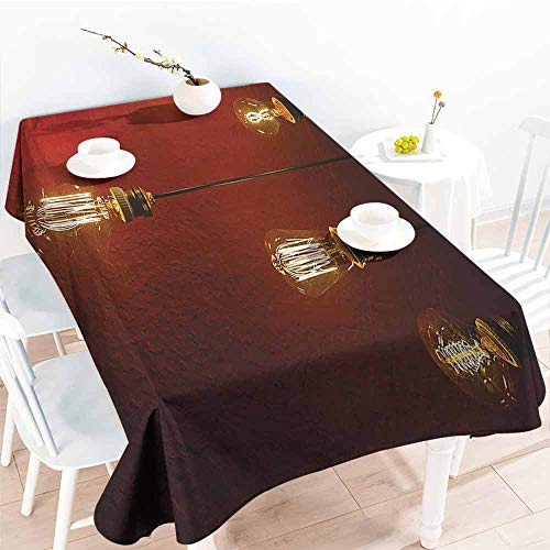 (Homrkey Rectangular Tablecloth Industrial Decor Collection Old Incandescent Lamps Lighting Together on a Wall Electrical Bulb Energy Lamp Picture Maroon Washable Tablecloth W60 xL102)