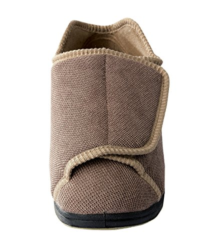 Womens Extra Extra Wide Width Adjustable Slippers - Diabetic & Edema Footwear Taupe outlet sast discount comfortable FbOwpjaSn