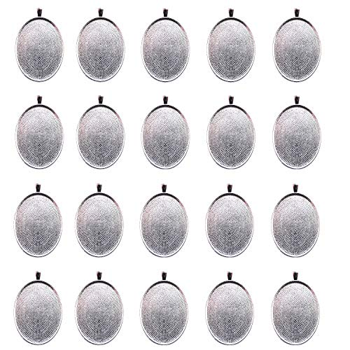 (IGOGO 20 PCS Oval Pendant Trays Pendant Blanks Cameo Bezel Cabochon Settings - 30x40 mm Silver Color)