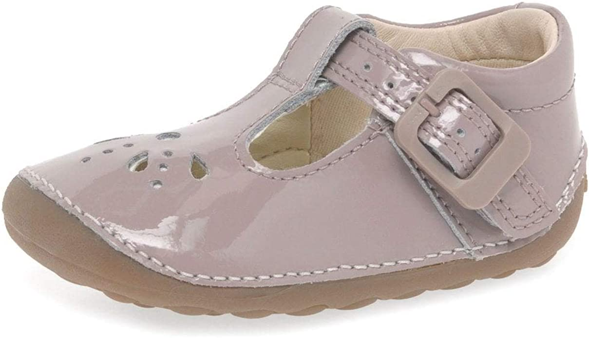Clarks Little Weave Pink Patent Leather Girls T-Bar Pre Walker Shoes