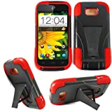 zte emblem phone cases - Phone Case for Virgin Mobile ZTE Emblem Red Silicone Corner with Hard Cover Kickstand