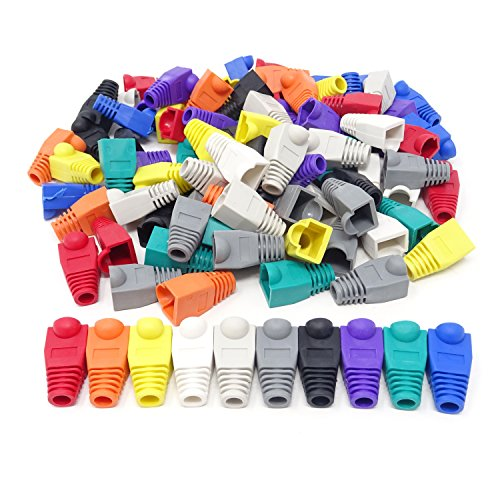 Cable Network Covers (Honbay 100PCS 10 Colors Plastic RJ45 Ethernet Network Cable Strain Relief Boots Cable Connector Plug Covers for CAT5 CAT5e CAT6)
