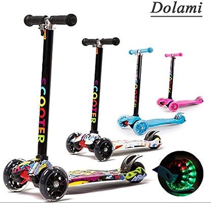 Dolami Twist & Roll Patineta de 3 ruedas para niños con luz LED freestyle mini scooter