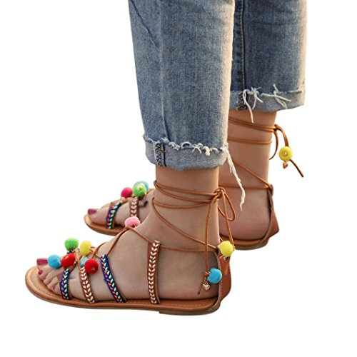 Han Shi Bohemia Sandals, Women Gladiator Leather Flats Pom Pom Flip Flops Shoes (Multicolor, 8) by Han Shi