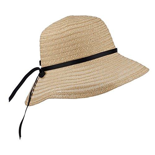 Lux Accessories Straw Hat Black Ribbon Bow Wide Brim Fedora Floppy Cloche Derby Sun Hat Cap