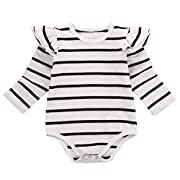 Infant Baby Girls Long Sleeve Bodysuit Romper Ruffle Fly Sleeve Triangle Cotton Jumpsuit (70(3-6M), White)