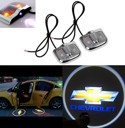 CHAMPLED for Chevrolet Laser Projector Logo Illuminated Emblem Under Door Step Courtesy Light Sticker No Drill Lighting Symbol Sign Badge LED Glow Car Auto Tuning Accessory Self Adhesive