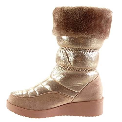 Ankle Heel 3 Booty Bi Angkorly Boots Platform High Laces Boots Pom Women's Snow CM Pink Pom Block Shoes Quilted 5 Material Fashion Tt4tCpxqw