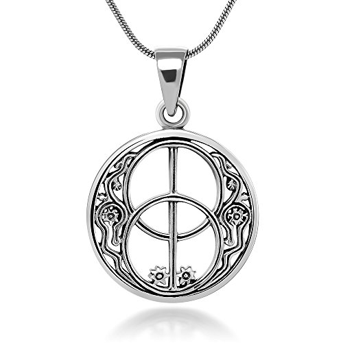 John Lennon Jewelry (Sterling Silver 22 mm Chalice Well Peace Garden Symbol of Avalon Glastonbury Amulet Necklace 18