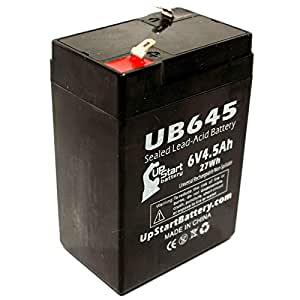 Hubbell HE612 Battery - Replacement UB645 Universal Sealed Lead Acid Battery (6V, 4.5Ah, 4500mAh, F1 Terminal, AGM, SLA) - Includes TWO F1 to F2 Terminal Adapters