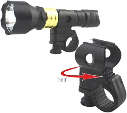 Front Bike Flashlight Bracket Bicycle Clip Holder Rotary Grip Cycling Attachment