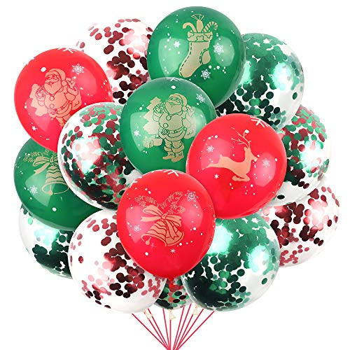 Funarty 100 Christmas Latex Pattern Confetti Balloons, Christmas Valentine's Day and Other Party Decorations, 12 Inches (Red Pattern, Green Pattern, Various Confetti)