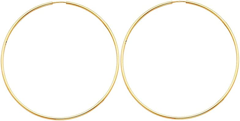 Large 60mm Diameter Thin Polished Gold Plated Square Tube Round Hoop Earrings