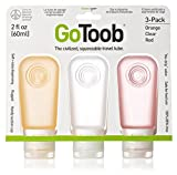 Humangear GoToob, 3-Pack, Medium (2oz), Clear/Orange/Red