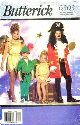 Butterick 6303 Sewing Pattern Peter Pan Captain Hook Tinkerbell Costumes Size 4 - 14