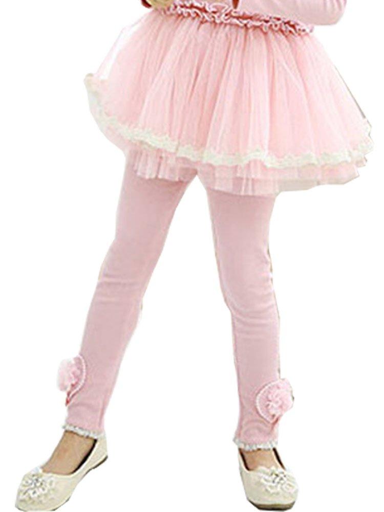 ZHUANNIAN Little Girls Bowknot Lace Leggings (4-5T, Pink 1151)
