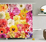 pink and yellow shower curtain - Ambesonne House Decor Collection, Colorful Flowers Dahlia Botanical Cheering Happiness Sunny Day Illustration Image, Polyester Fabric Bathroom Shower Curtain Set with Hooks, Pink Yellow Orange