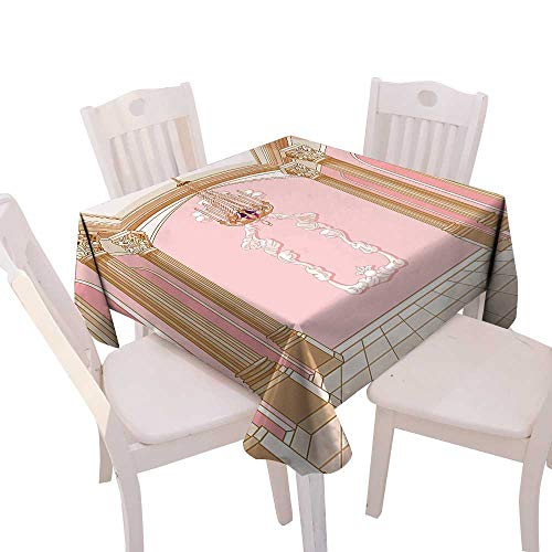Kitchen Tablecloth duitable All Occasions,(W60 x L60) Teen Girls Decor Interior The Ball Magic Castle Chandelier Ceiling Columns Kingdom Print. ()