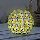 Exhart Solar Metal Hydrangea Ball, Tabletop Centerpiece Decoration, LED, Solar Powered, Yellow, 8'' L x 8'' W x 8'' H