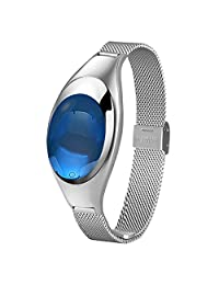 Tchan Excellent Design Smart Watch Lady Fitness Tracker Smart Bracelet with Blood Pressure SPO2H Heart Rate Monitor Pedometer Sleep Management App Enabled Wearable Technology (Silver)