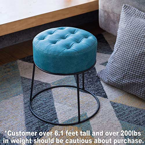 (Art-Leon Stackable Stool Footstool Faux Leather Pouf Foot Rest for Living Room, Vanity, Dorm, Apartment, (Blue))