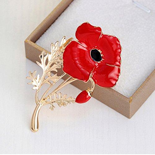 Pastel Crystal Petals (Iumer Enamel Poppy Brooch In Gold Plating Lapel Pin)