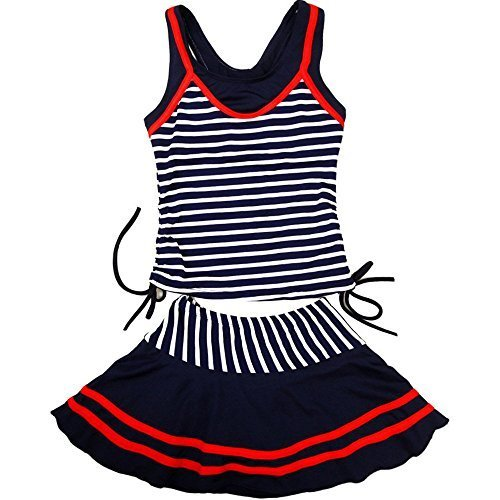 Vkenis Striped Two-Piece Suits Navy Style Swimsuit for Girls 8-14 Years Old (M(10-14 years old -
