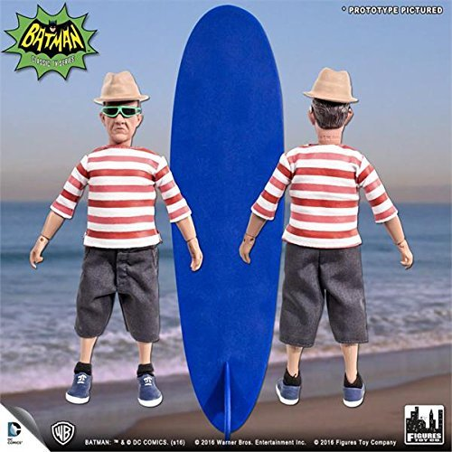 Batman Classic 1966 tv series Retro Action Figure; Surfing Series Chief O hara & surfboard by batman tv series chief o hara