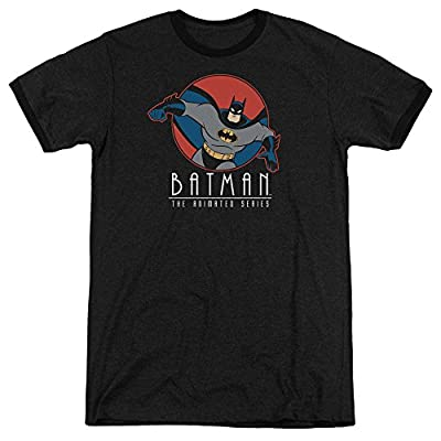 Batman The Animated Series Punch Out Mens Adult Heather Ringer Shirt Black Sm