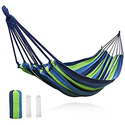 """V VONTOX Hammock, Comfortable Canvas Hammock Can Bear 500 Pounds-2 People,142 x 60 inch, Lightweight Portable, Use for Indoors and Outdoor Garden, Backyard, Camping - Material Aspect: the hammock is made of tightly woven soft Canvas fabric that is high density compact and thick, not easy to fade after special processing and easy to clean. Size Aspect: the hammock can support 500 pounds, size: 142 x 60 inch (L x W from loop to loop) and bed size: 71 x 60 inch (L x W), enough to support 2 people. Equipped with two 2 meter long ropes, conducive to extension.This double Hammock's dimensions may seem smaller at first, so please allow for 1-2 weeks of use for """"stretching"""" Color Aspect: the patchwork between the blue and green stripes produces a comfortable color and is resistant to dirt. - patio-furniture, patio, hammocks - 512GS46omRL. SS400  -"""