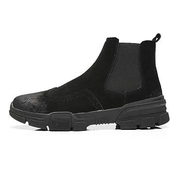 399566bce35897 Herren Hohe Schuhe Britische Mode Bullock Geschnitzt Chelsea Herren  Lederstiefel Leder Koreanische Version des Britischen Martin