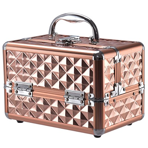 Amazon.com : Cosmetic Makeup Beauty Case Organizer W/ Mirror & Extendable Trays Rose Gold Allblessings : Beauty