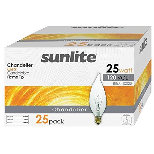Sunlite 25CFC/32/25PK Candelabra (E12) Base Flame Tip 25W Incandescent Chandelier Crystal Clear Bulb (Pack of 25) ()
