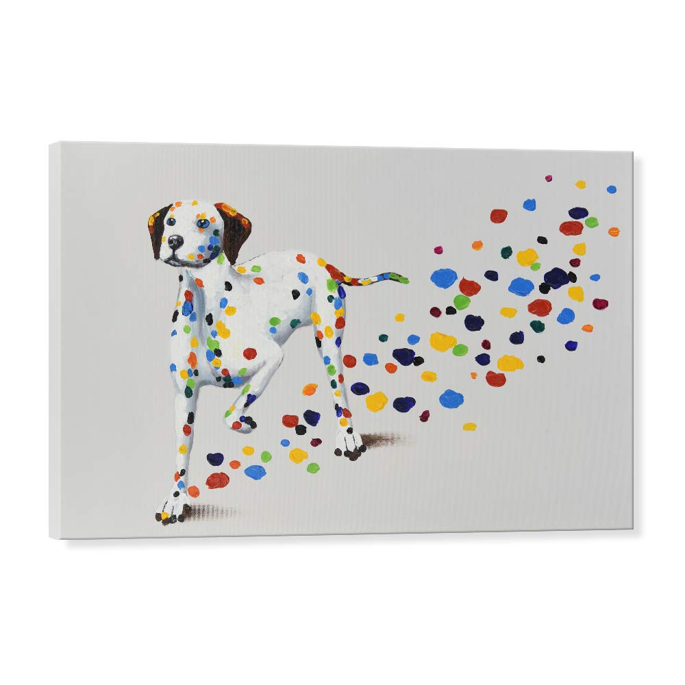 Seven Wall Arts Modern Animal Cute Pet Dog Painting Colorful Dalmatian Puppy With Colorful Footprint Funny Dogs Artwork For Home Decor 24x36 Inch