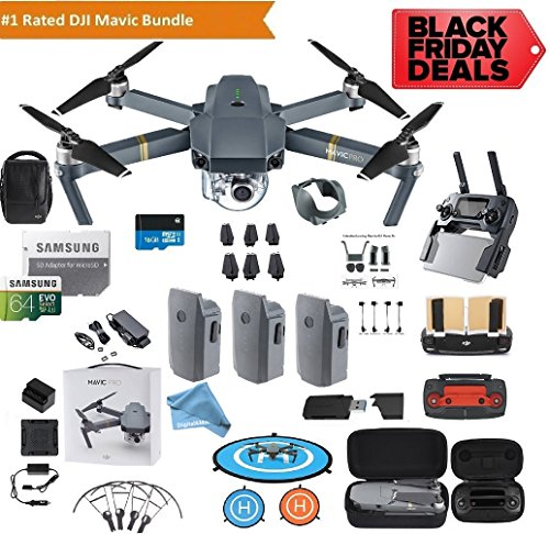 DJI Mavic Pro Drone Quadcopter Fly More Combo with 3 Batteries, 4K Professional Camera Gimbal Bundle Kit with DJI Bag, 64GB SD Card, Range Extender,Landing Pad, (Black Friday / Cyber Monday Deal!) by DigitalandMore
