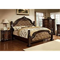 Furniture of America Monte II Dark Brown Leatherette Bed with Flora Motif, Eastern King, Dark Walnut