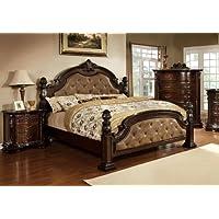 Furniture of America Monte II Dark Brown Leatherette Bed with Flora Motif, Eastern King, Dark Walnut