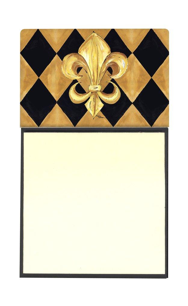 Caroline's Treasures Black and Gold Fleur de lis New Orleans Refillable Sticky Note Holder or Postit Note Dispenser, 3.25 by 5.5'', Multicolor by Caroline's Treasures
