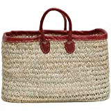 """Moroccan Straw Tote Bag w/ Red Leather Handles & Trim, 21""""Lx10""""Wx12""""H - Aegean"""